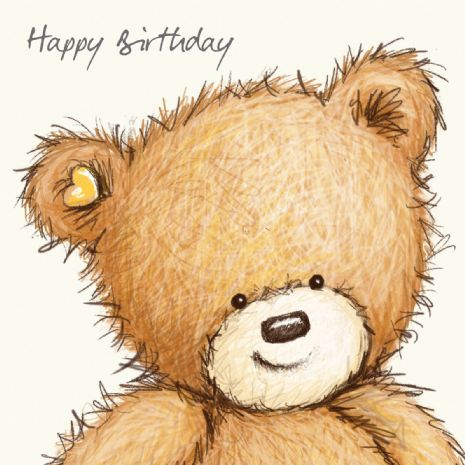 Birthday Bear With Pink Balloon, Happy Birthday Card
